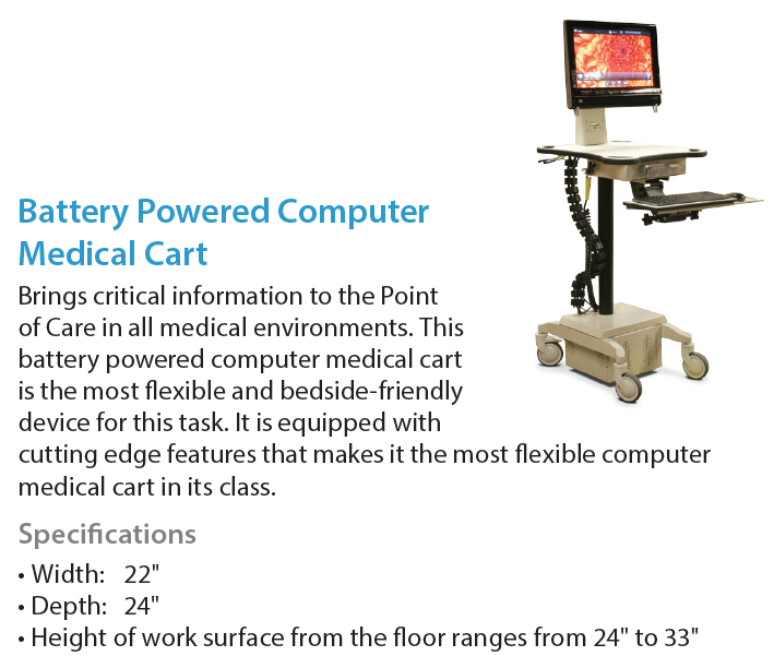 AFC Industries Battery Powered Computer Medical Cart Radiology Furniture